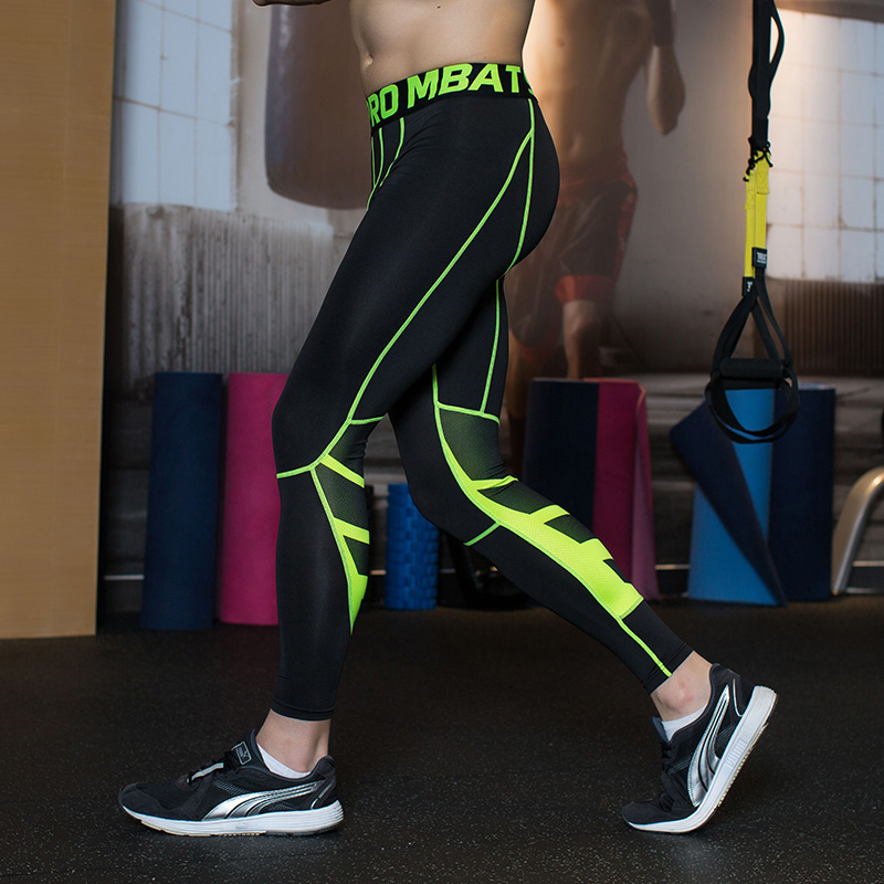 Stripe Compression Tights Men Running Pants Sweat Fitness Legging Sport Compression Pants Summer Football Gym Compression Tights