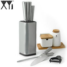XYj Stainless Steel Kitchen Knife Stand Block Tool Holder Multifunctional 8 inch Knife Block Sooktops Tube Shelf Chromophous(China)