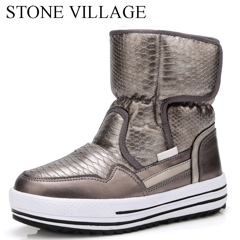 2018 New High Qulaity Winter Boots Woman Shoes Warm Fur Waterproof Fashion Non-Slip Sole Snow Boot Flat Short Boot For Women france tigergrip waterproof work safety shoes woman and man soft sole rubber kitchen sea food shop non slip chef shoes cover