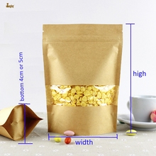 50pcs/lot big 4sizes Kraft Paper packaging bag transparant windows stand up Zipper packing bags zip lock retailer package