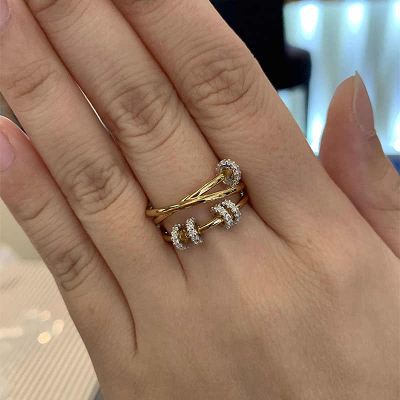 SLJELY Real 925 Sterling Silver Yellow Gold Color Triple Circles Finger Ring with Sliding Rings Pave Zircon Women Luxury Jewelry