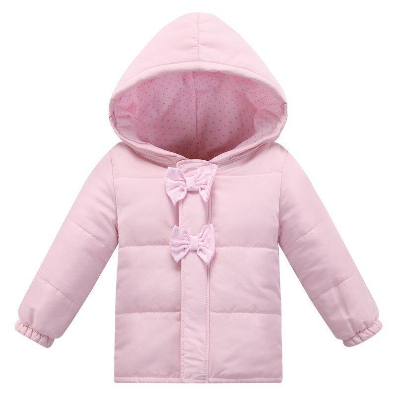 Новая мода зима девочка куртка новорожденных С Капюшоном Лук розовый хлопок Куртки одежда для новорожденных новорожденный bebe верхняя одежда детские зимние пальто
