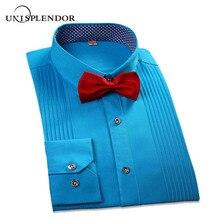 Новинка, Брендовые мужские рубашки Three Di, рубашки для жениха, приталенные рубашки с длинным рукавом для жениха, рубашки для смокинга YN047