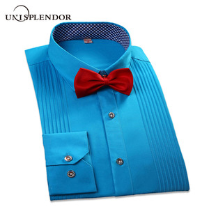 Image 1 - 2019 브랜드 뉴 남자 3 차원 셔츠 결혼 된 신랑 셔츠 슬림 맞는 groomsman 긴 소매 남자 드레스 턱시도 셔츠 yn047