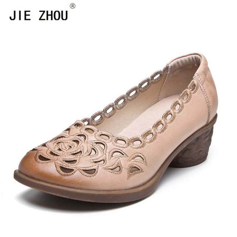 New Women Pumps Concise Embroidery Cut Outs High heels Lady Genuine Leather Square heel Shoes Summer