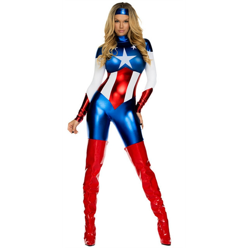 FOGIMOYA Adult female captain American super woman cosplay costumes sexy dress uniform for women suit for Halloween