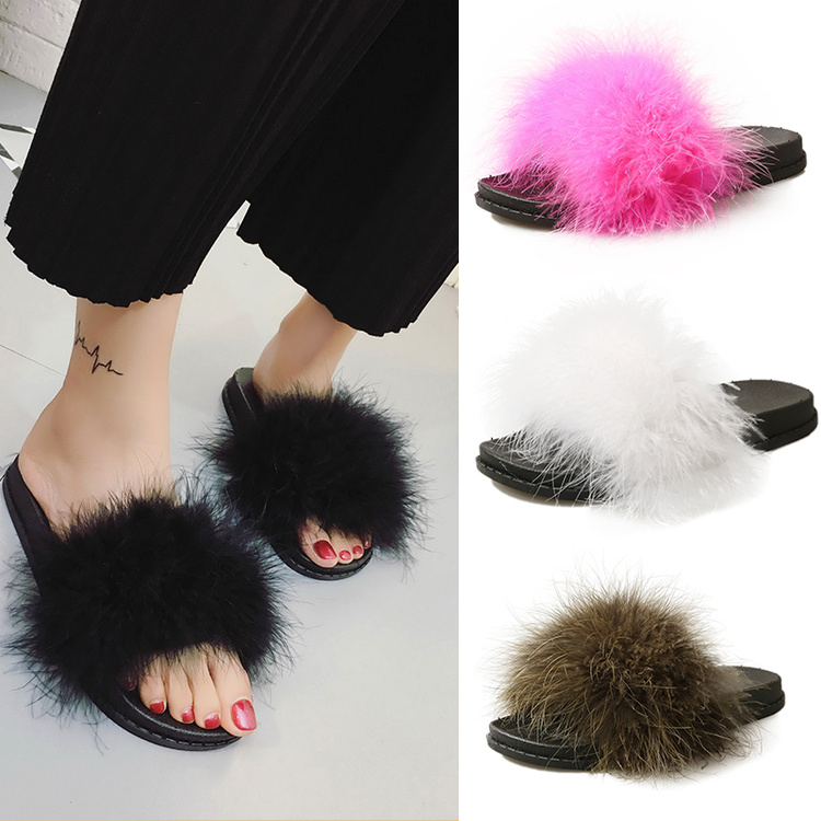 sweet candy color summer women natural ostrich hair slippers mules women open toe sandals flat shoes 4 colors free shipping candy color women garden shoes breathable women beach shoes hsa21