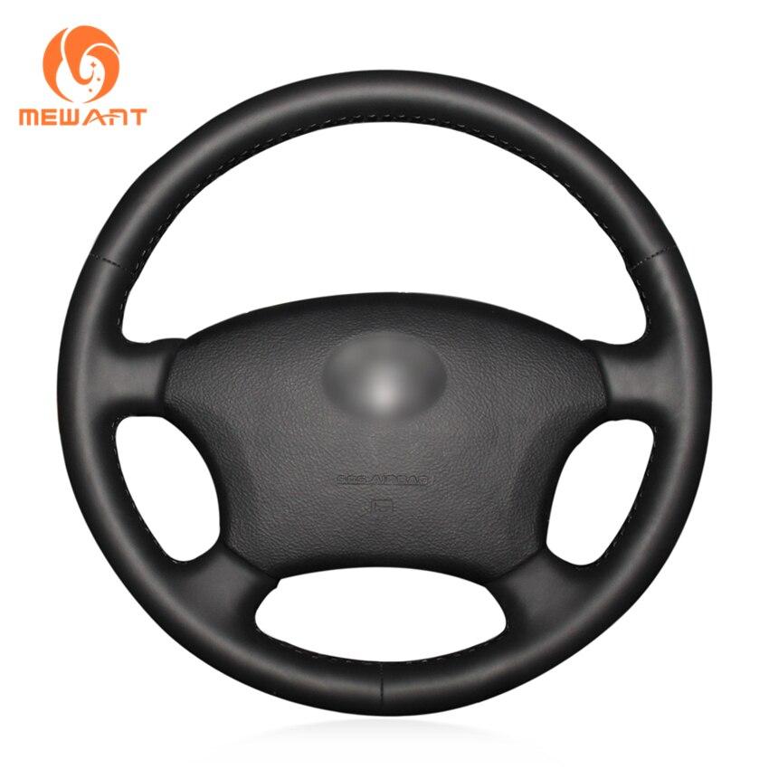 MEWANT Black Genuine Leather Car Steering Wheel Cover for Toyota Land Cruiser Prado 120 Land Cruiser 2003-2007 Tacoma 2005-2011