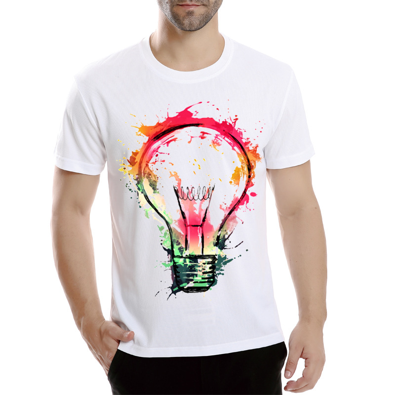 New color painted bulb design men 39 s t shirt cool fashion for How to make t shirt printing