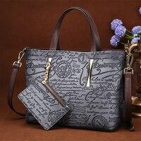 2017 Women Ladies PVC Luxury Embossed Handbag Famous Brand Tote Bags With Mini Purse Casual Travel Female Shoulder Messenger Bag