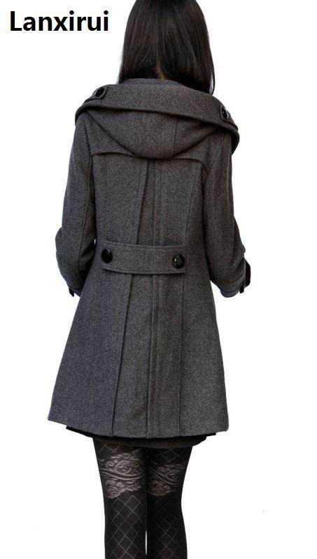 Nouvelle Hiver col de fourrure manteau en laine Laine Coupe-Vent Femmes manteau de cachemire veste d'hiver femmes Femme Plus - 2