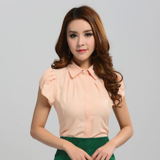 3d661b1d71a New 2015 Summer Fashion Blouses Women Shirts Office Ladies Short Sleeve  Blouses for Work Wear Female Tops Blue