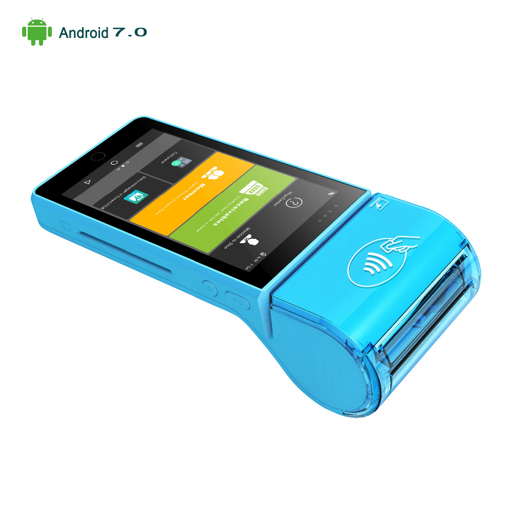 Tout en un portable 4G android 7.0 POS tablette terminal lecteur de carte de crédit mobile au détail POS machine avec imprimante 58mm PSAM NFC