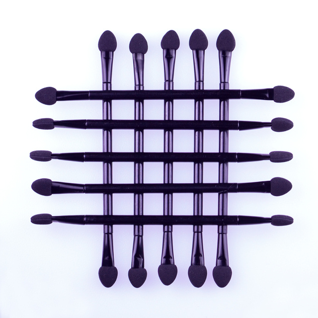 10pcs Double-Head Sponge Eye Shadow Eyeliner Brush Black Applicator Beauty Makeup Tools Foundation Makeup Brushes Tool Set 2