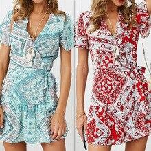 цена на Fashion Women Printing Wrap Dresses Short Sleeve Ladies Deep V-neck Ruffles Mini Dress Girls Floral Print Sexy Dress for Summer