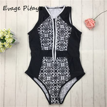 2018 Sexy Women One Piece Swimsuit Vintage Print Zipper Front Swimwear Bathing Suit Beach Wear Monokini Black(China)