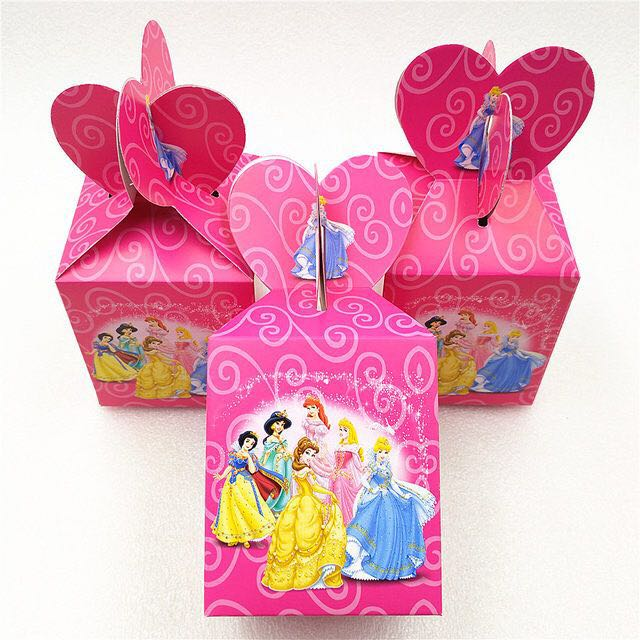 6pcs Princess Jasmine Theme Party Ideas Small Candy Bags 1st Birthday Supplies Boxes