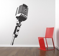 Free Shipping Vinyl Wall Sticker Decals Mural Room Design MICROPHONE Music Studio Wall Stickers Home Decor