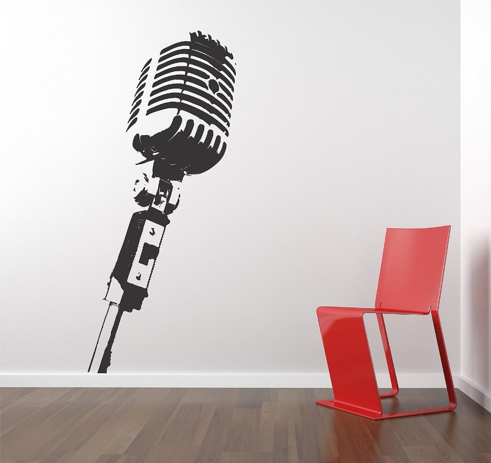 Free Shipping Vinyl Wall Sticker Decals Mural Room Design MICROPHONE ...