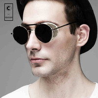 Classic Steampunk Metal Round Mirror Sunglasses Men Brand Designer 2015 Fashion Cover Driving Sunglass Gafas De