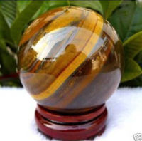 Asian Rare Natural Yellow Tiger Eye Healing Ball Sphere 40mm Stand Store Free Shipping