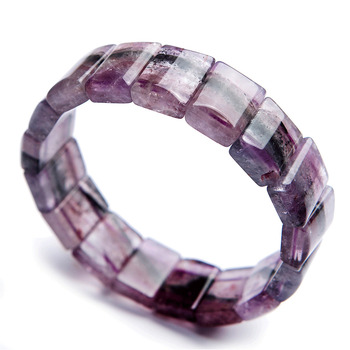 Genuine Purple Red Auralite 23 Cacoxenite Women Rectangle Bead Crystal Fashion Bracelets