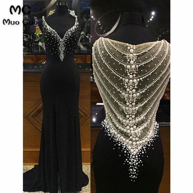 2018 Elegant Mermaid Prom   Dresses   Long with Pearls V-Neck Elastic Satin Black Illusion Back Formal Women's   Evening     Dresses