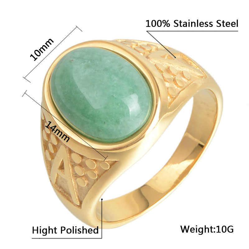 ใหม่มาถึงธรรมชาติสีเขียวหยกฝังแหวนนิ้วมือสำหรับผู้หญิงผู้ชายแฟชั่น 316L สแตนเลส Rose Gold แหวนเครื่องประดับไม่เคย