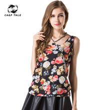 Fashion Tops Women Summer Large Size Wild Bottoming Shirt Loose Printing Casual Vest Sleeveless Top