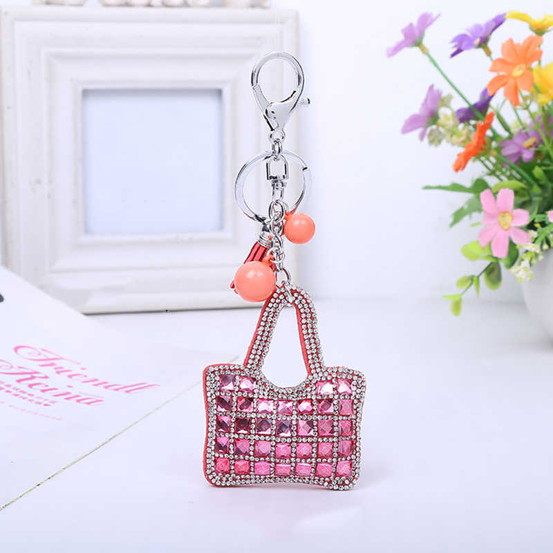 2015 ใหม่แฟชั่นผู้หญิงคริสตัล Key Chain หนัง Rhinestone กระเป๋าจี้ Key chain Key แหวนผู้หญิง Key Holder ขายส่ง