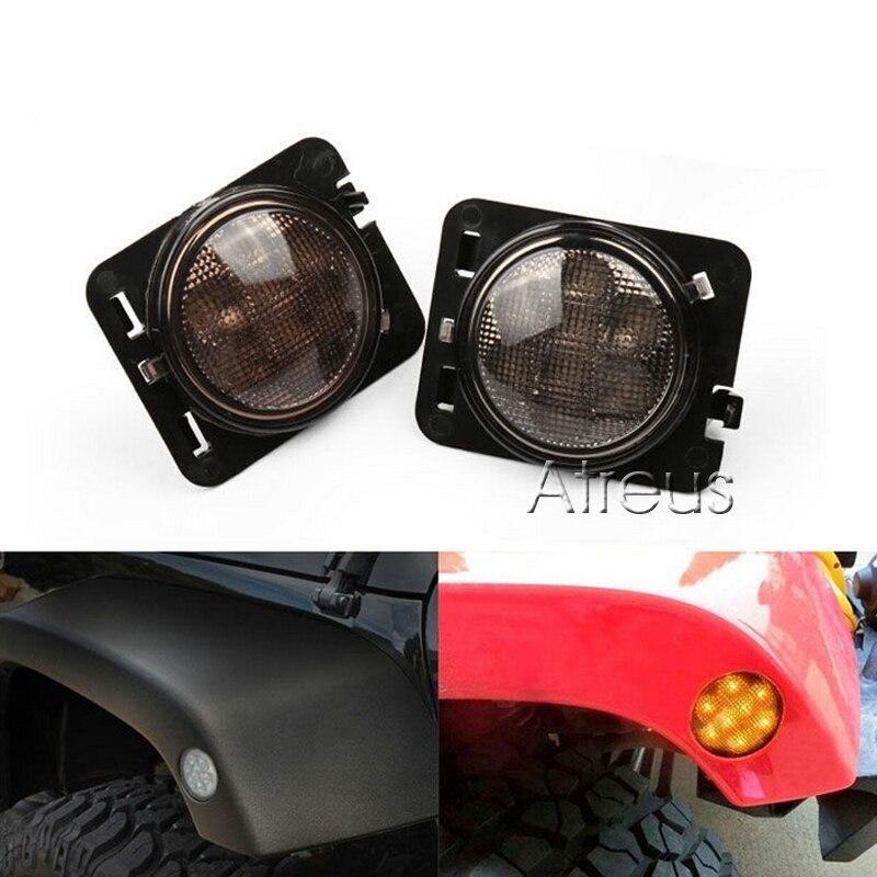 Jeep Wrangler JK 2007-2015 üçün kəhrəba aksesuarları LED yan - Avtomobil işıqları - Fotoqrafiya 2