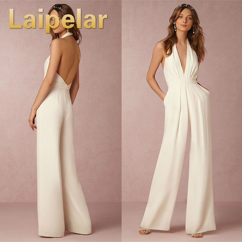 3bccdb9cf0 Laipelar 2018 Wedding Formal Jumpsuit Sexy Sleeveless Halter Elegant  Bodysuit Ladies Overalls Deep V Sexy Backless Playsuit-in Jumpsuits from  Women s ...