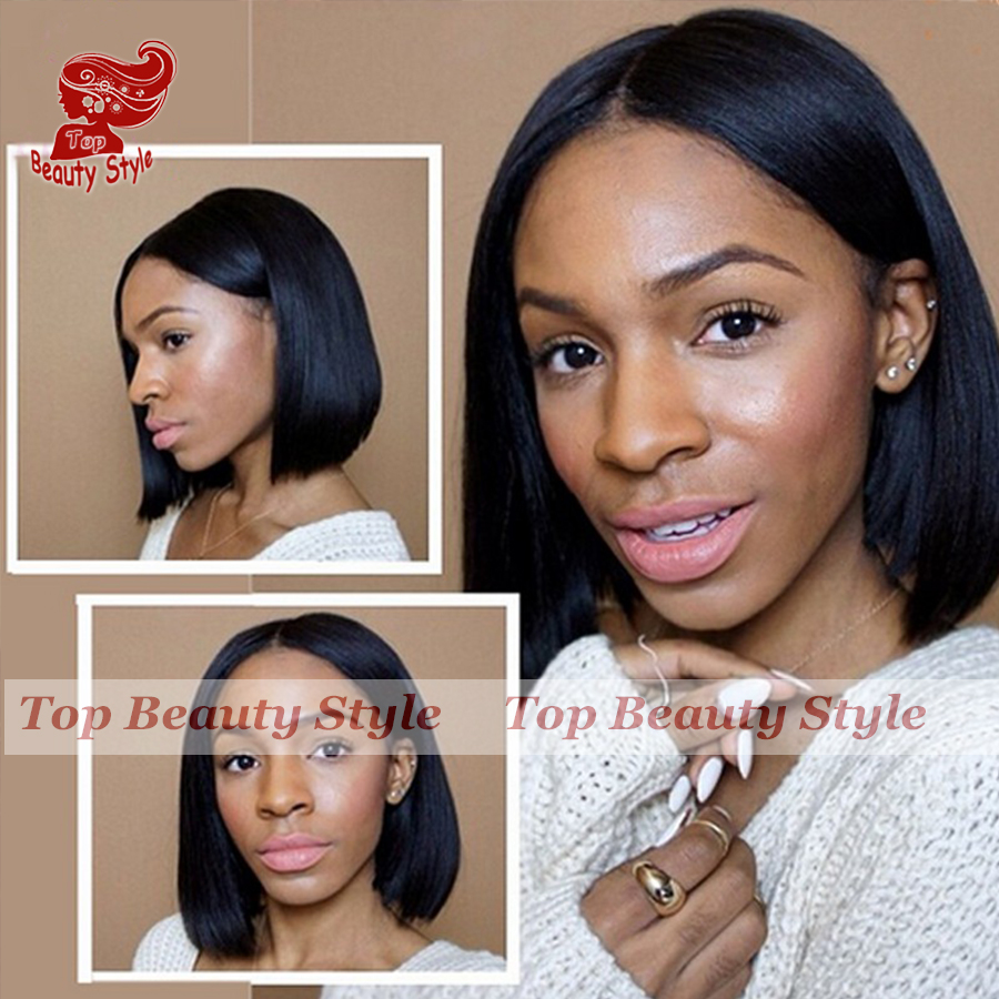 Short Lace Front Wigs Black Brazilian Heat Resistant Fiber Short Bob Best  Synthetic Lace Front Wigs Straight Glueless Lace Wigs c2ad9bec06