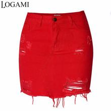 LOGAMI wysokiej talii spódniczki dżinsowe damskie Mini ołówkowa spódnica jeansowa wiosna lato zgrywanie Sexy kobiety spódnica czerwony tanie tanio COTTON Na co dzień Stałe Proste Otwór Powyżej kolana Mini empire Y802021 34 36 38 40 42