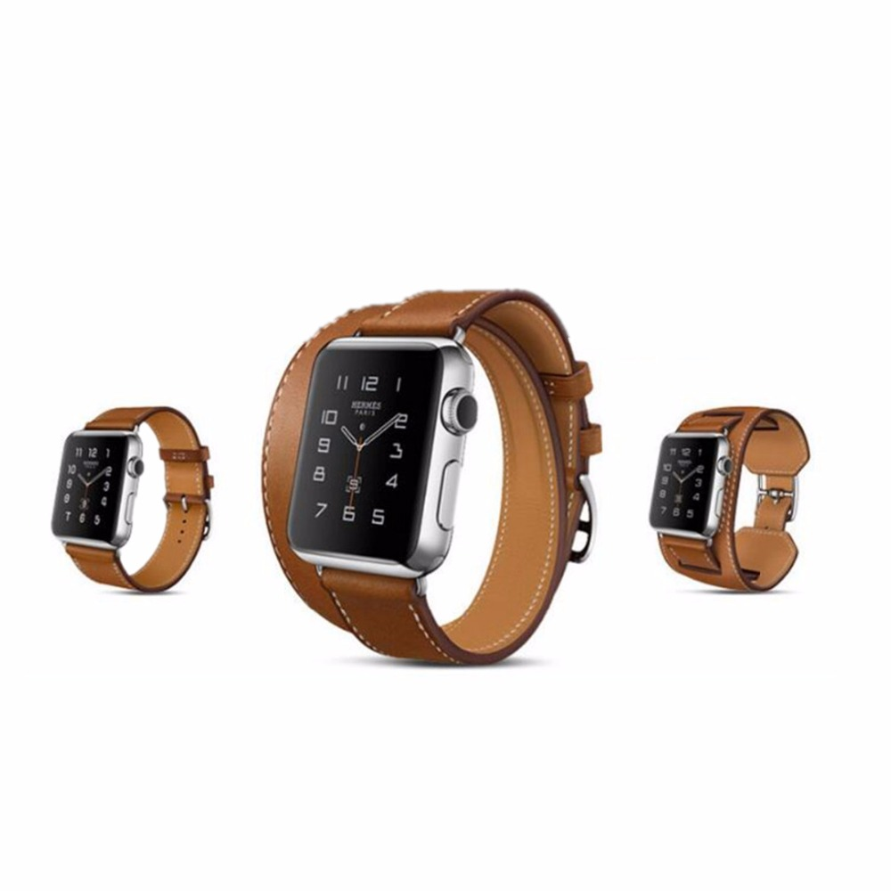 купить CRESTED 3 Models Genuine Leather watch band strap for apple watch 38 mm 42 mm bracelet watch  Leather watchband for iwatch 1 2 по цене 550.53 рублей