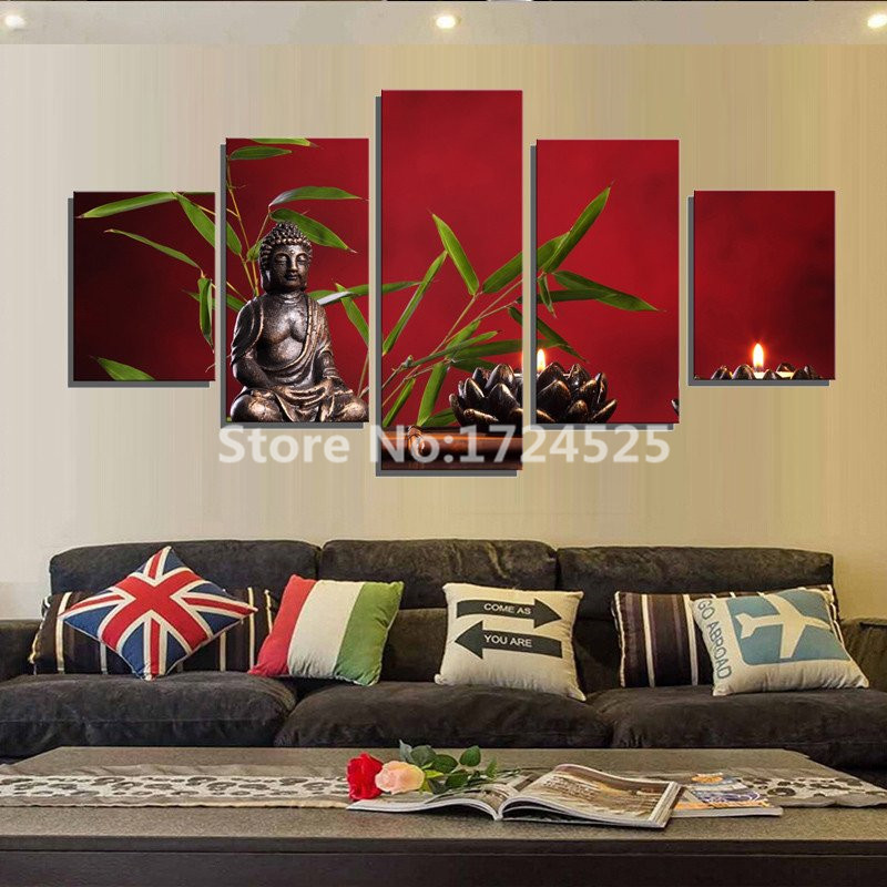 Unframed 5 Pieces Canvas Painting Buddhist Tranqility Wall Art Home Decor Bamboo Leaves Pictures Painting On The Wall