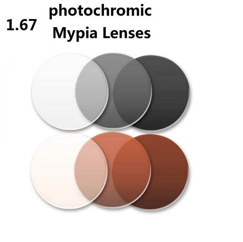 1 67 Aspheric Super thin photochromic gray brand myopia eyeglasses lenses sunglasses optical glass lenses for