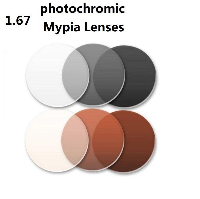 1,67 Асферические супер тонкий фотохромные серый Марка близорукость очки линзы солнцезащитные очки линзы из оптического стекла для глаз CR-39 ...
