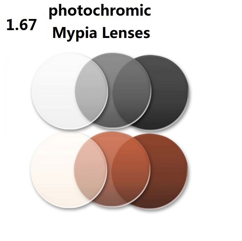1,67 Aspheric Supertunna fotokroma grå varumärke myopi glasögon glasögon solglasögon optiska glasögon för ögon CR-39 glasögon
