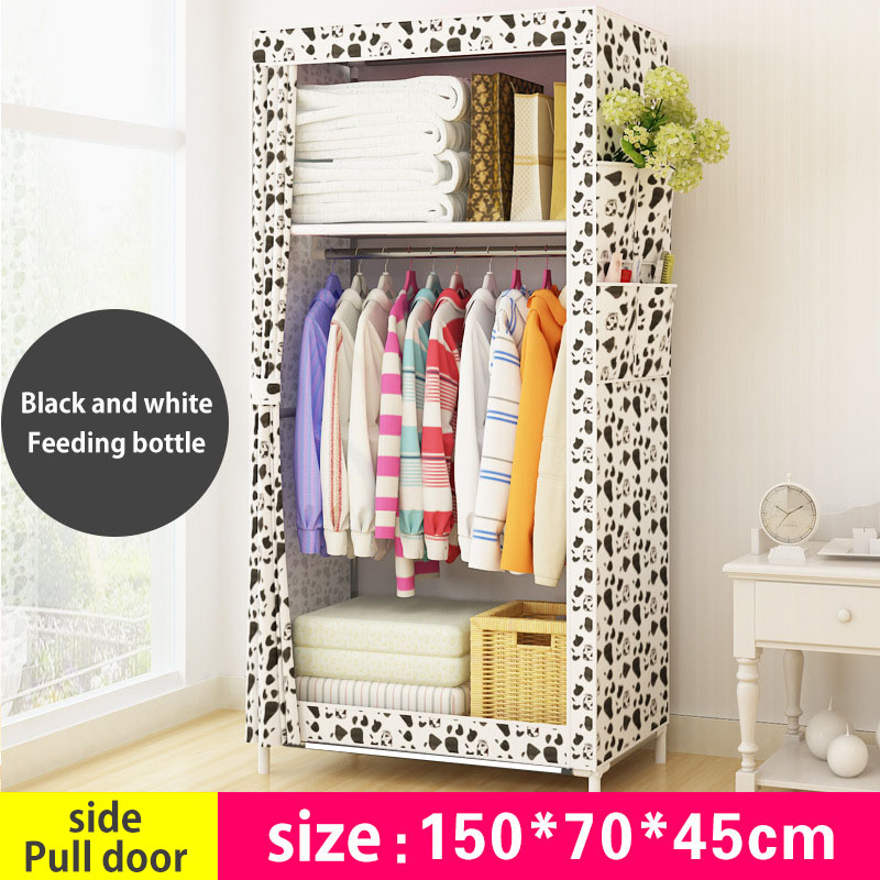 Dormitory Wardrobe Non Woven Steel Frame Reinforcement Standing Storage  Organizer Detachable Clothing Closet Furniture