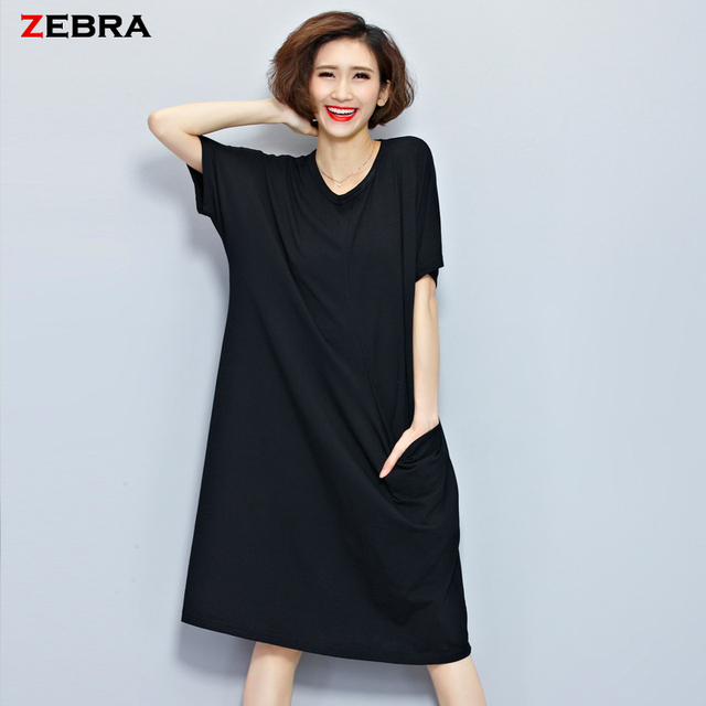 US $24.0 |2016 Summer Women\'s Plus Size knee Length Dresses Casual Women  Pure Color Black Short Sleeve Simple Brief Big Sizes Dress HOT!-in Dresses  ...