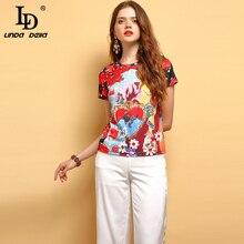LD LINDA DELLA Fashion Runway Summer Wild Women T-shirt Short Sleeve Gorgeous Beading Appliques Printed Elegant  Casual T-shirt