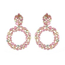 Round Rhinestone Statement Earrings 2019 Big Crystal Earrings For Women Large Circle Fashi