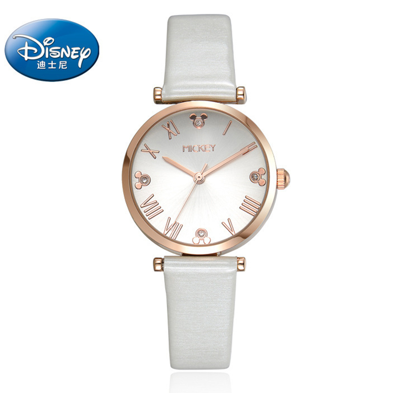 100% Genuine Disney Girl Watch Waterproof Watch Women Female Casual Dress Watches Wristwatches Leather Relojes Mujer 2017 hot