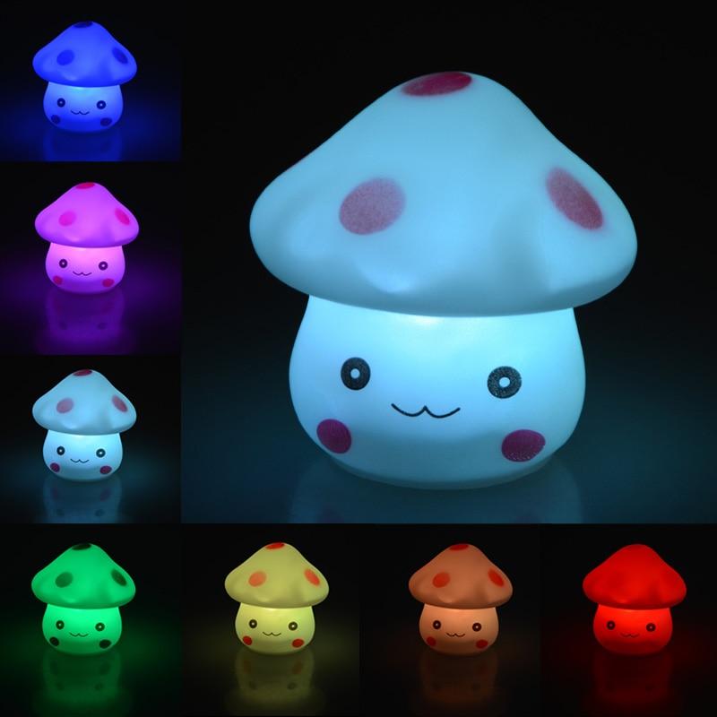 LED Novelty Lamp 7 Color Changing Plastic Night Romantic Mushroom Light Cute Lamp Decor birthday gift for children