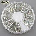 BlueZoo 3D Diy Nail Rhinestones Glitter Round Diamond Gems Nail Tips Nail Art Beauty Decoration Wheel AB Acrylic 2 mm 3mm 4mm
