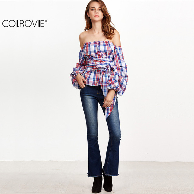 COLROVIE Women's Printed Blouse Women Blouses and Tops Multicolor Plaid Billow Sleeve Off The Shoulder Wrap Top Blouse