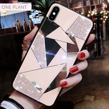 Luxury Creative Mirror Rhombus Phone Case For iPhone X XR XS MAX Cover For iPhone 7 8 6 Plus 11 Por Max Fashion Water Drill Case(China)