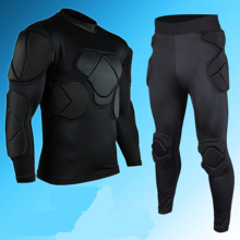 Мужской футбольный Вратарский трикотажный комплект, толстые шлемы, губка, полный Вратарский мотоциклетный протектор, униформа для тренировок, костюм