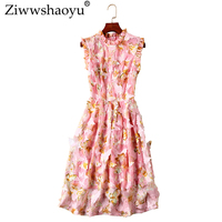 Ziwwshaoyu Elegant 3D Applique dress Stand AppliquesTemperament Tank Dresses 2019 spring and summer new women